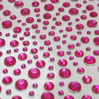 325 x 2,3,4,5mm Hot Pink Self Adhesive Gems