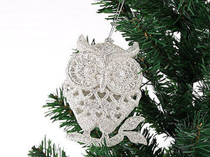 Set of 3 Glitter Owls Christmas XMO-02 Owl
