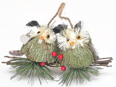 18cm 2 Owls on a Branch Christmas Tree Decoration