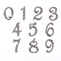 2 x 50*30mm Black Numbers Self Adhesive Gems