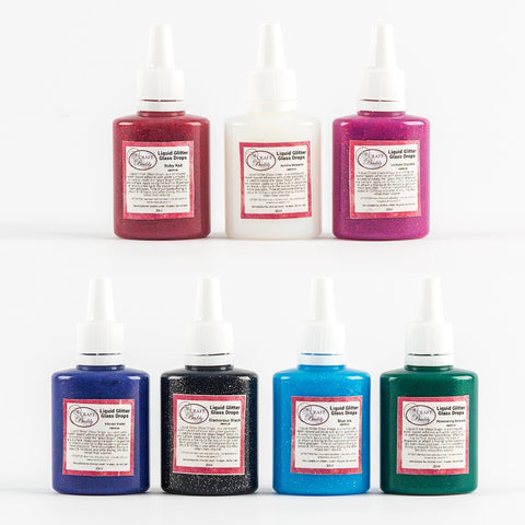 Craft Buddy Liquid Glitter Glass Drops Full Collection - 7 Bottles