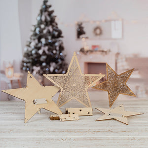 Craft Buddy Set of 2 Light up! Laser cut Star Decorations