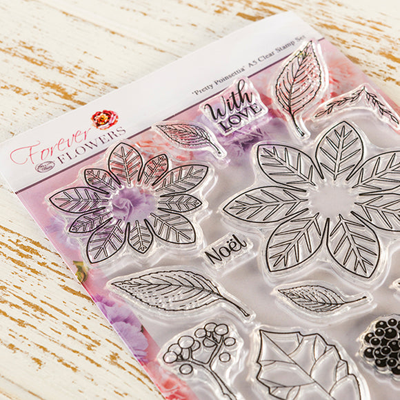 Forever Flowerz - Pretty Poinsettias A5 Clear Stamp Set
