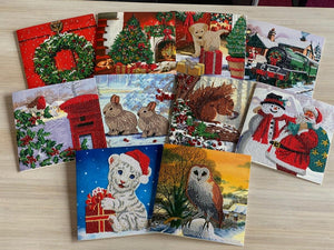 "CCK-CNC-SET2020XMAS: ""set of 10"", 18x18cm Crystal Art Cards"