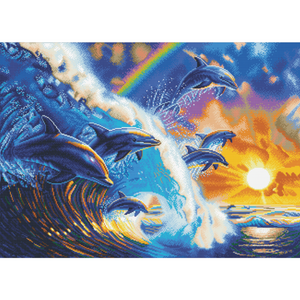 "CAK-A103XL: ""Dolphin Waves"" Framed Crystal Art Kit, 90 x 65cm (Giant Kit)"