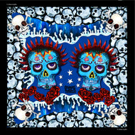 Skulls Blue Foulard l 45 x 45 Cotton