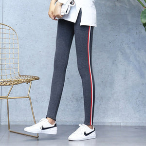 High Quality Cotton Leggings Side stripes Women Casual Legging Pant Plus Size 5XL High Waist Fitness Leggings Plump Female