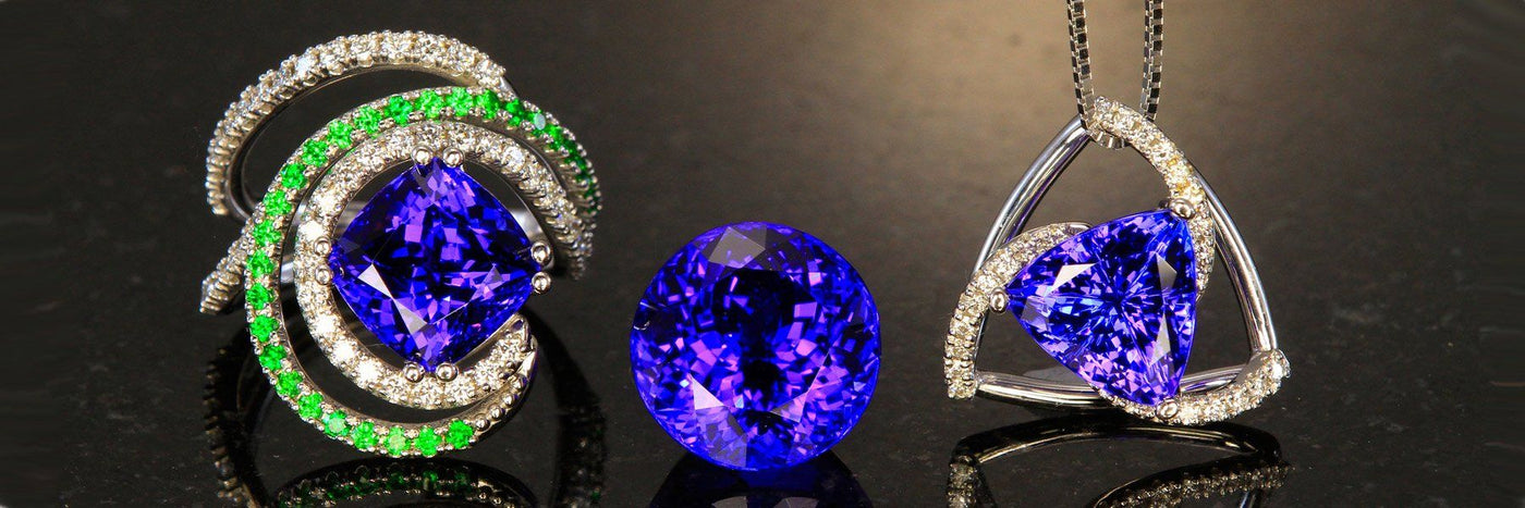 Tanzanite Jewelry - Vivid AAA Rings, Pendants, Earrings & Stones