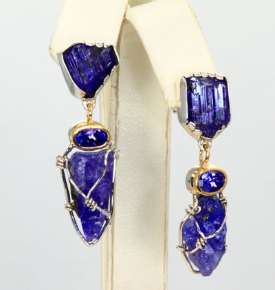 Artistic Natural Crystal and Faceted Tanzanite Earrings