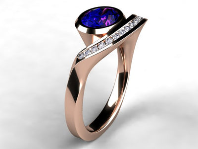 Oval Bluish Violet Vivid Color Tanzanite and Diamond Ring