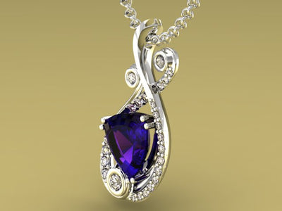 Diamond and Tanzanite Pendant