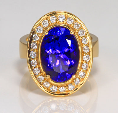 Tanzanite Ring 6.08 Ct Exceptional Color