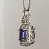 🤗 SALE  14K White Gold Emerald Cut Tanzanite Pendant with Diamonds 1.98 Carats