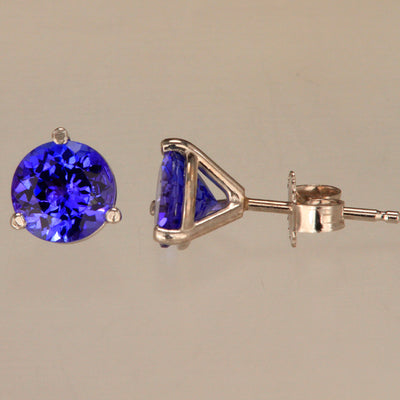 Round Tanzanite Stud Earrings Weigh 1.90 Carats