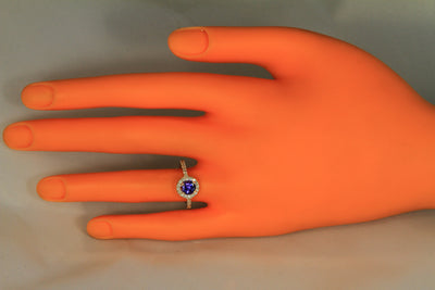 14 kt Gold with 1.00 Ct Blue Violet Exceptional Color Tanzanite