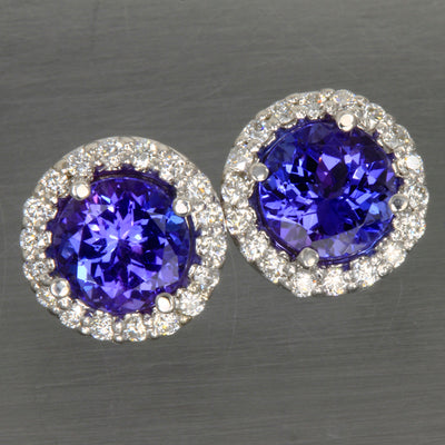 Tanzanite Diamond Halo Earrings 2.31 Carats