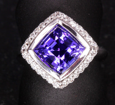 Tanzanite Ring Designed By Christopher Michael 3.97 Carat BVE Color
