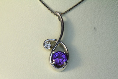 Christopher Michael Designed Pendant Set With a 6mm Round Vivid Color Tanzanite