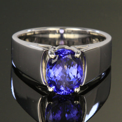 Wide Cathedral Tanzanite Ring 2.38 Carats