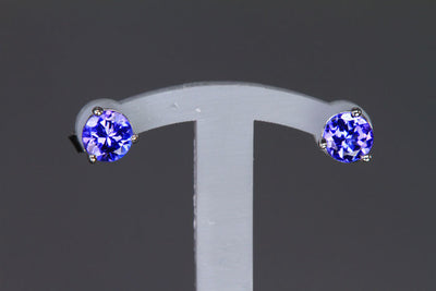 14K White Gold Round Tanzanite Stud Earrings .56 Carats