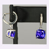 14k White Gold Square Cushion Tanzanite and Diamond Earrings 6.40 Carats