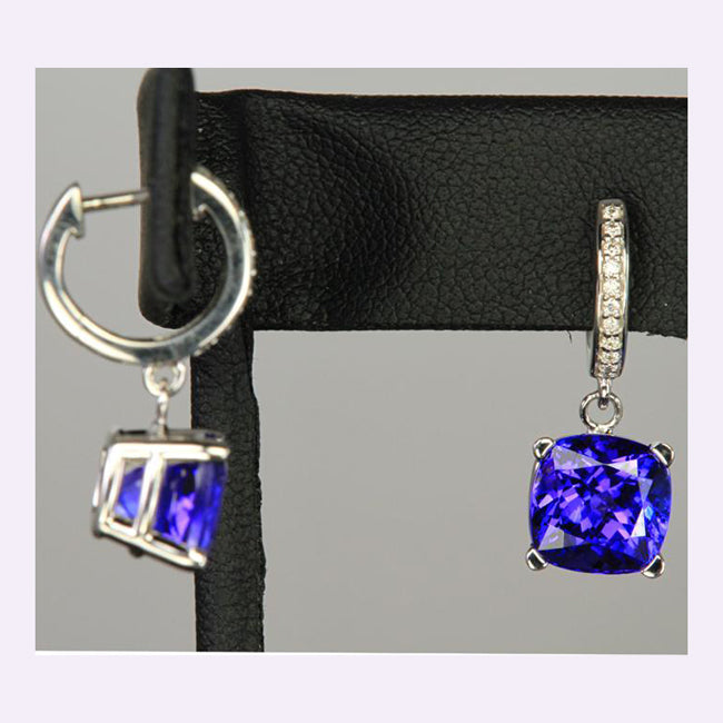 876882be989918 14k White Gold Square Cushion Tanzanite and Diamond Earrings 6.40 Carats