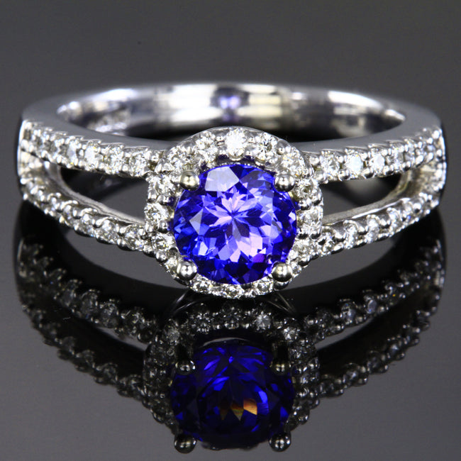 Fine Jewelry Nice Stunning Violet Blue Tanzanite 14k Solid Yellow Gold Engagement Diamond Ring Moderate Price Jewelry & Watches