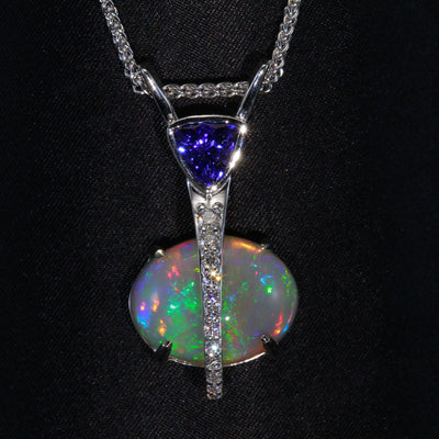 Opal and Tanzanite Pendant 11.80 Carats