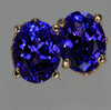 Tanzanite Oval Earrings in 14 kt. Yellow Gold 3.21 Carats