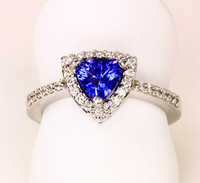 Trilliant Tanzanite Ring With Ideal Cut Diamonds Around