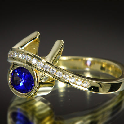 Oval Tanzanite Ring With Diamond by Christopher Michael