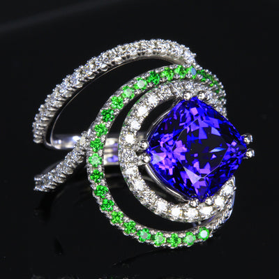 Tanzanite Ring with Diamond and Tsavorite Garnets