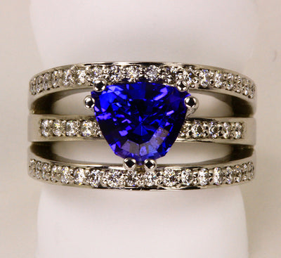 White Gold Trilliant Tanzanite Ring