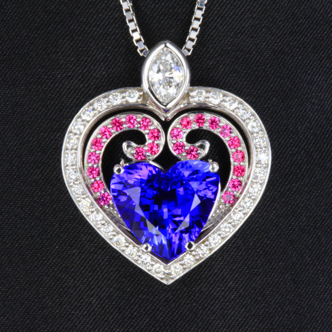 df1dfc6be7 14K White Gold Heart Tanzanite Pendant with Pink Sapphire and ...