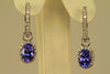 Tanzanite 7x5 Oval Drop Earrings with Diamond