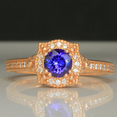 Rose Gold Tanzanite and Diamond Ring .87 Carat