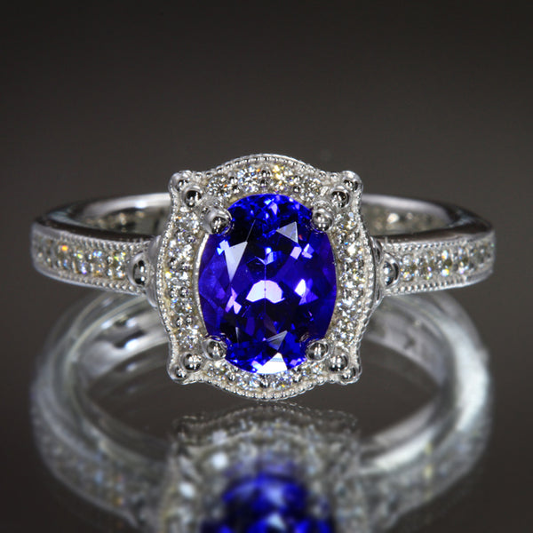 Custom 14kt White Gold Tanzanite Amp Diamond Engagement Ring