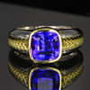gentlemens tanzanite ring 18K yellow gold white gold