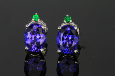 14kt White Gold Tanzanite & Tsavorite stud earrings