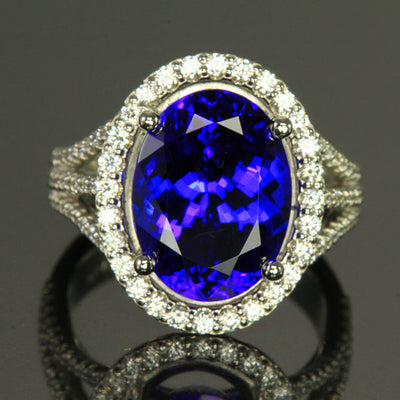 Platinum Oval Blue Violet Exceptional Tanzanite and Diamond Ring 8.18 Carats