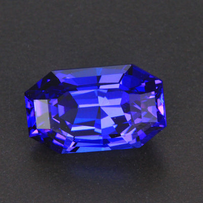 Violet Blue Emerald Cut Tanzanite Gemstone 5.74 Carats