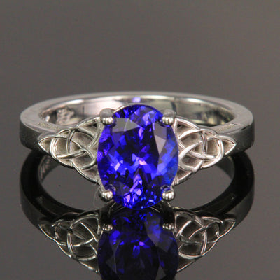14K White Gold Celtic Oval Tanzanite Ring 2.23 Carats Designed by Christopher Michael