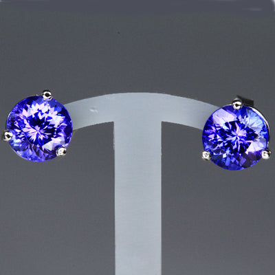 14K White Gold Stud Tanzanite Earrings 2.67 Carats