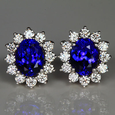 14K White Gold Oval Tanzanite Halo Earrings 3.90 Carats
