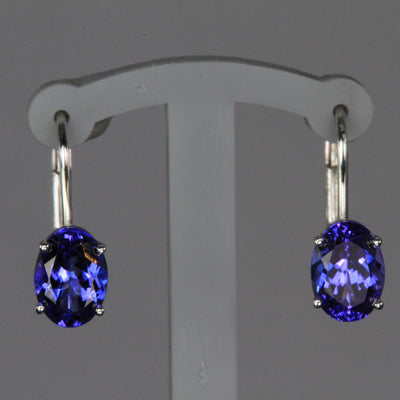 14K White Gold Oval Lever Back Tanzanite Earrings 1.93 Carats