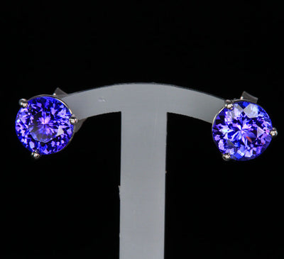 14K White Gold Round Tanzanite Stud Earrings 1.98 Carats 6mm