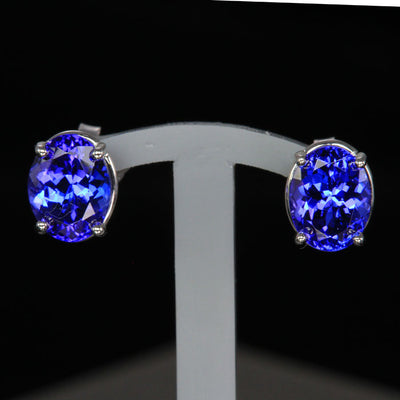 oval stud pierced earrings tanzanite