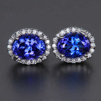 14k White Gold Oval Tanzanite and Diamond Halo Earrings 2.57 Carats