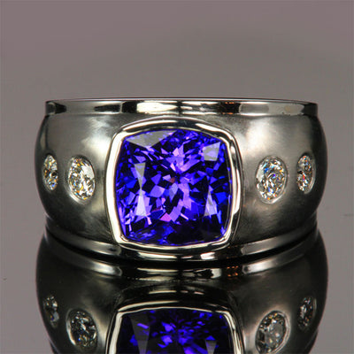 custom designed square cushion tanzanite ring with diamonds