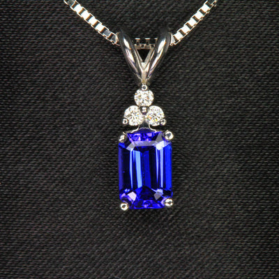 14K White Gold Emerald Cut Tanzanite with Diamonds Pendant 1.20 Carats